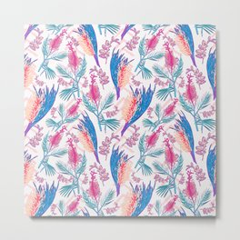 Beautiful Pink and Blue Australian Native Floral Print Metal Print