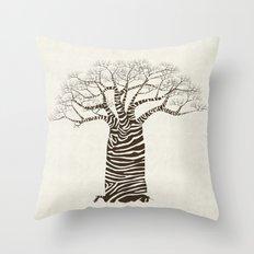 Zebra Tree Throw Pillow