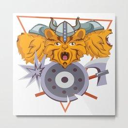 Nordic Viking Kid Cat Kitten Warrior Valhalla Gift Metal Print