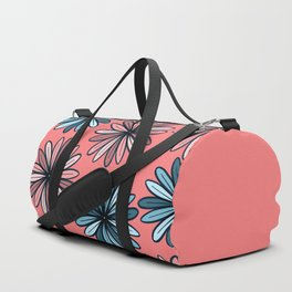 Girly Summer Blue Pink Neon Coral Flower Pattern Duffle Bag