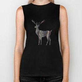 deer silhouette stag black bark with lichen Biker Tank