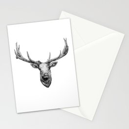 Elk - black and white Stationery Cards