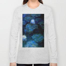 monet water lilies 1899 Blue teal Long Sleeve T-shirt
