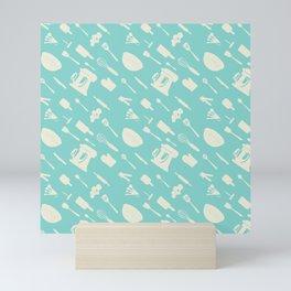 In The Kitchen — Turquoise Mini Art Print