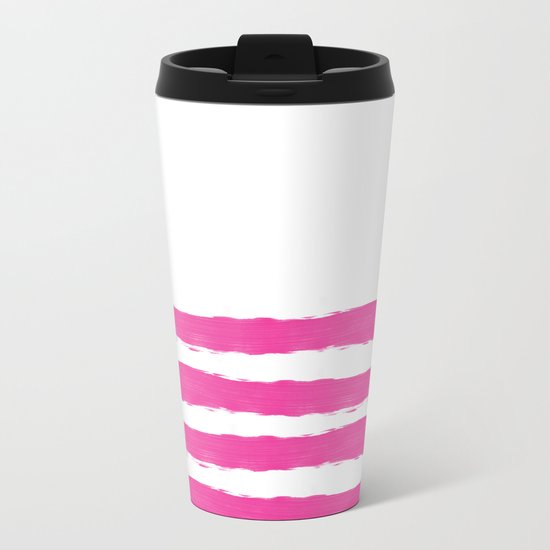 Simply hand-painted pink stripes on white background -Mix and Match Metal Travel Mug