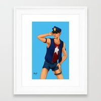 resident evil Framed Art Prints featuring Resident Evil: Policeman Piers by Margaret Esaak
