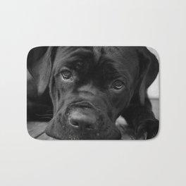 Gurdy on Porch Animal / Dog Black & White Photograph Bath Mat