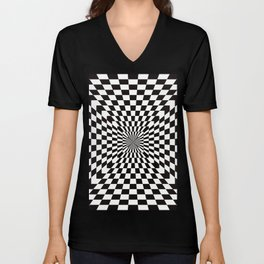 Checkered Optical Illusion Unisex V-Neck