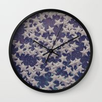 starry night Wall Clocks featuring Starry Starry Night (1) by Karin Elizabeth