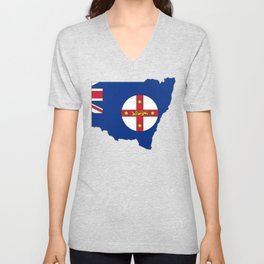 New South Wales Australia Map with NSW Flag Unisex V-Neck