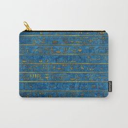 Golden Embossed Egyptian hieroglyphs on blue Carry-All Pouch