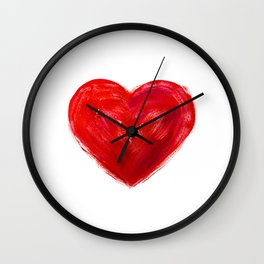 Heart Watercolor Heart Red Heart Valentine Day Gift Anniversary Gift One Year Anniversary Idea Gift Wall Clock