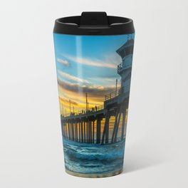 Winter Sunset at Huntington Beach Pier. Travel Mug