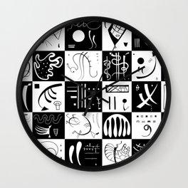Kandinsky - Black and White Pattern - Abstract Art Wall Clock