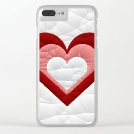 Quilted Red White Pink Simple Heart Design Clear iPhone Case