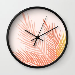 Tropical Palm Leaves Illustration - peach pink and orange Wall Clock