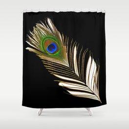 ART DECO PEACOCK FEATHER BLACK ART Shower Curtain