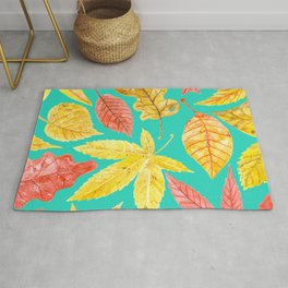 Autumn leaves watercolor teal Rug