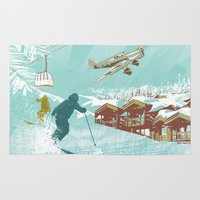 ski Area & Throw Rugs featuring ski lift by michael cheung