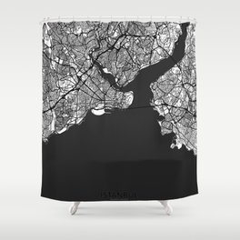 Istanbul Map Gray Shower Curtain