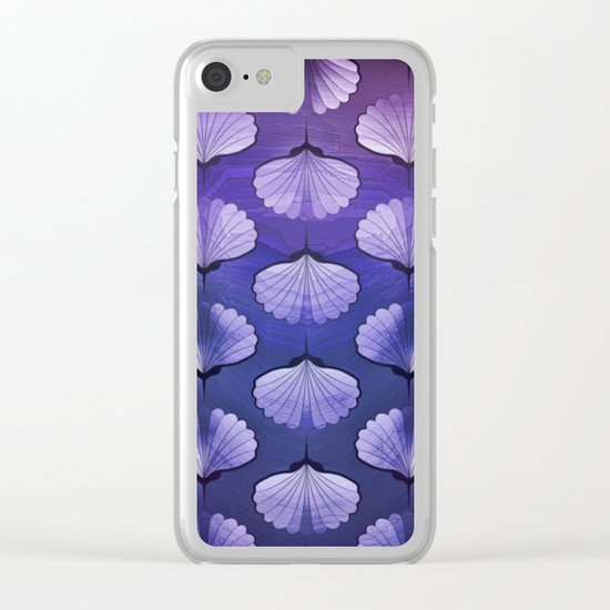Blue sea geometric pattern texture on blurred background. Graphic illustration of seashells template Clear iPhone Case