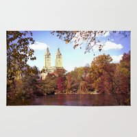 central park Area & Throw Rugs featuring central park by Penny Pixel