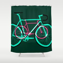 Fixed Gear Road Bikes – Green and Pink Shower Curtain