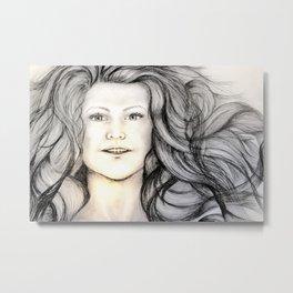 Mermaid (B/W) - Original Sketch to Digital Metal Print