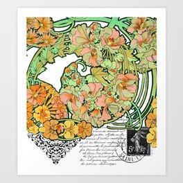 Romance in Paris, Art Nouveau Floral Nostalgia Art Print