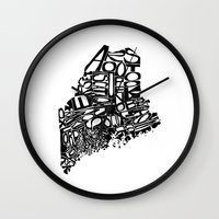 maine Wall Clocks featuring Typographic Maine by CAPow!