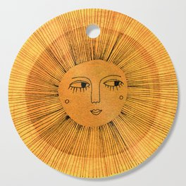 Sun Drawing Gold and Blue Cutting Board