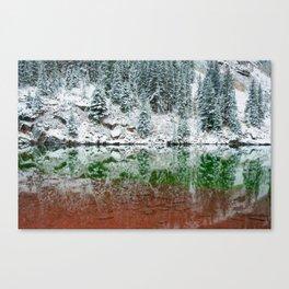 Maroon Lake Winter Reflections - Aspen Colorado Canvas Print