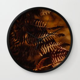 Autumn Fern Tree Leaf Brown Coffee Color Wall Clock