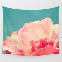 shabby chic Wall Tapestries featuring Shabby Chic Rose Photograph by Scarlett Ella