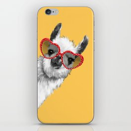 Fashion Hipster Llama with Glasses iPhone Skin