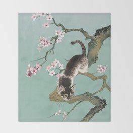 Fortune Cat In Cherry Tree Throw Blanket