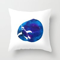 swim Throw Pillows featuring Swim  by Bekka Kate Art