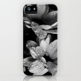 Flower and drops. Black and white. iPhone Case