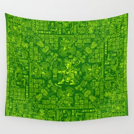 Mayan Spring GREEN / Ancient Mayan hieroglyphics mandala pattern Wall Tapestry