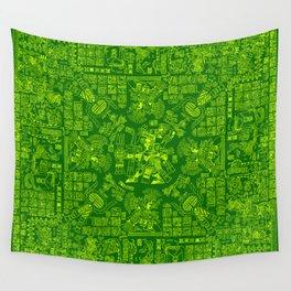 Mayan Spring GREEN / Ancient Mayan hieroglyphics mandala pattern Wall Tapestry