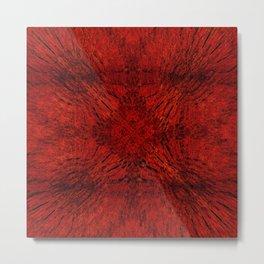 Motion Mandala Deep Red Metal Print