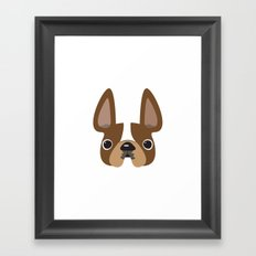 Another Pied Frenchie - Brown Framed Art Print