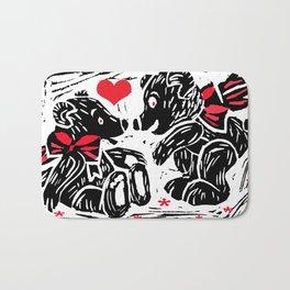 Teds in Love, lino cut Bath Mat