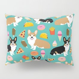 Welsh Corgi junk food fast food tacos french fries pizza burrito ice cream donuts Pillow Sham