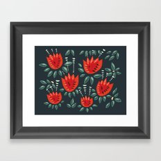 Abstract Red Tulip Floral Pattern Framed Art Print