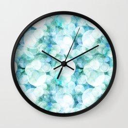 Aqua blue circles dots polka dots bokeh pattern on #Society6 Wall Clock