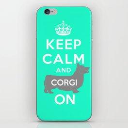 keep calm and corgi on iPhone Skin