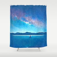 northern lights Shower Curtains featuring Northern Lights by Acacia Alaska
