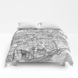 Vintage Map of Bruges (1905) BW Comforters