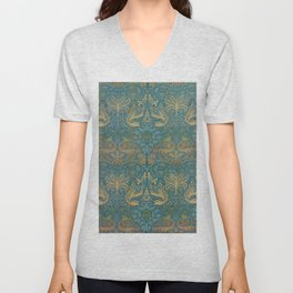 Peacock Dragon Morris Tan Blue Unisex V-Neck
